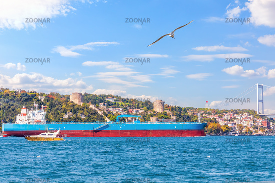 Big cargo ship in the Bosphorus near the Rumelian castle, Istanbul