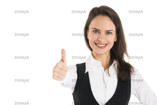 Business woman show thumb up