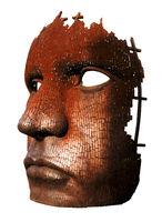 rusty iron mask / sculpture