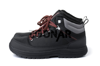 Side view of dlack waterproof hiking boots