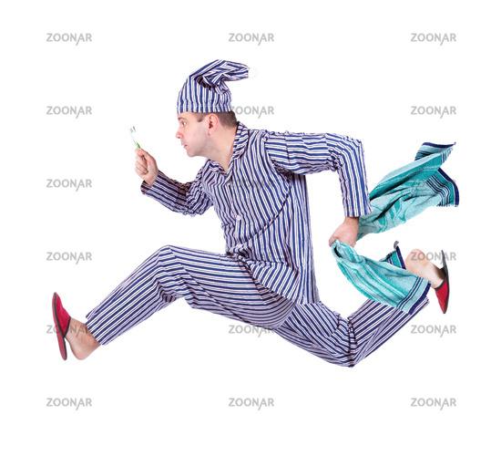 running sleeper isolated on white background