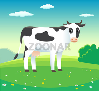 Rural landscape with cow in meadow, vector - background illustration for dairy products