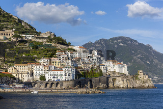View of Amalfi town and Saracen Tower, Italy