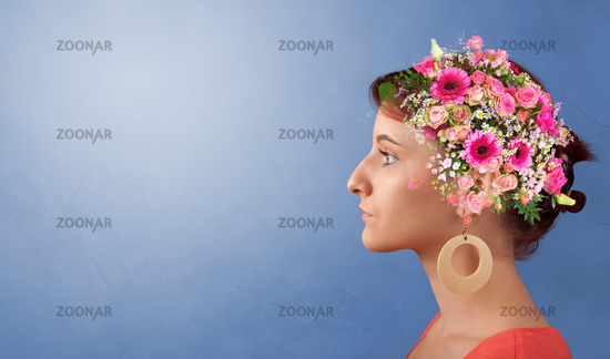 Blossomed head with colorful flowers