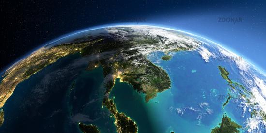 Detailed Earth. Asia. Indochina peninsula