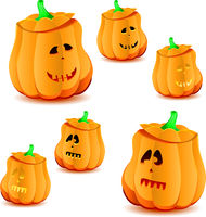 Set of halloween pumpkins with variations of illumination, part 23