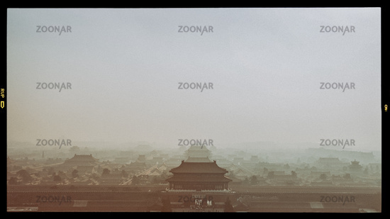 Old Film Vintage Historic Photograph of Beijing Forbidden City, China, Asia Sepia Color