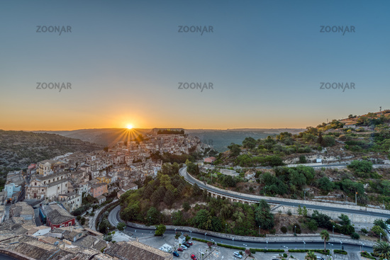 Sunrise at the old baroque city of Ragusa Ibla in Sicily