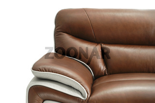 Light Brown leather sofa or chair isolated on white background. Furniture showroom photography