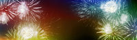 stars and lights pattern of bright sparkling colorful fireworks with motion textures, copyspace