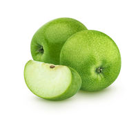 Green apples isolated on white background, granny smith