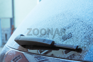 Car Details Frosted Snow Ice Cold Winter Climate Window Wipers Antenna