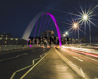 Light trails through the Clyde Arc Squinty Bridge in Glasgow