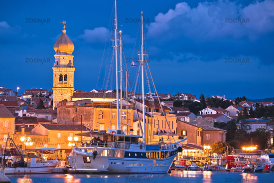 Krk. Island town of Krk evening waterfront view