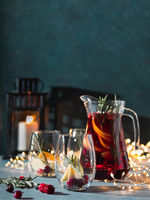 Winter sangria on christmas background, copy space