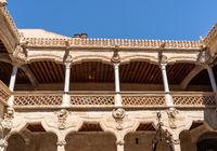 Casa de la Conchas and its carved balconies in Salamanca Spain
