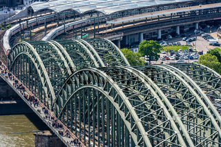 Aerial view of the Hohenzollern Bridge in Cologne
