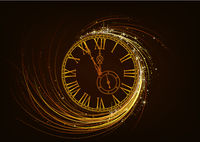 New Year Greeting Card with Sparkling Clock Face