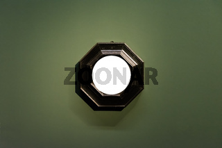 Round Art Museum Frame Dark Green Wall Ornate Design White Isolated Clipping Path Template