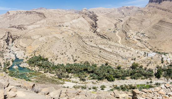 Top view of Wadi Bani Khalid, Sultanate of Oman, Middle East