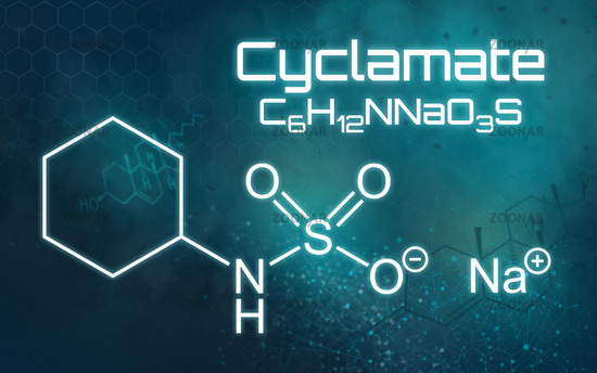 Chemical formula of Sodium cyclamate on a futuristic background