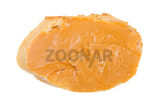 open sandwich with fresh bread and peanut butter