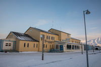 Longyearbyen, Svalbard in Norway - March 2019: Longyearbyen sykehus, the hospital.