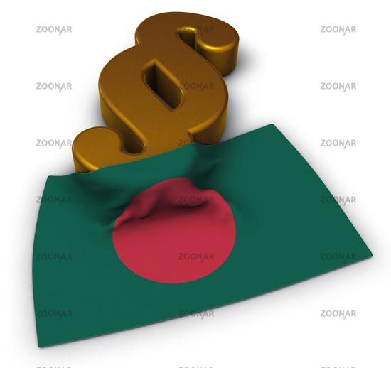 flag of bangladesh and paragraph symbol - 3d illustration