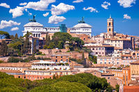 Rome. Eternal city of Rome landmarks an rooftops skyline view