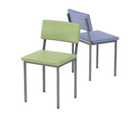 Two chairs with different colors