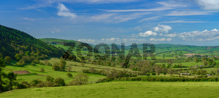 Panorama over typical english or welsh farming country