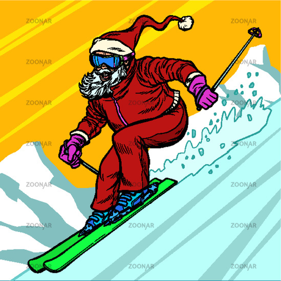 Skier day rides from the mountain Santa Claus character merry Christmas and happy new year