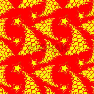 Seamless multilayer pattern of yellow New Year and Christmas trees in the lights on a red background