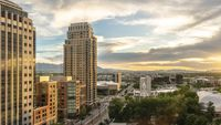 Panorama Panorama view of Salt lake City at sunset