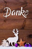 Snow, Deer, Tree, Pruple Ball, Danke Means Thank You