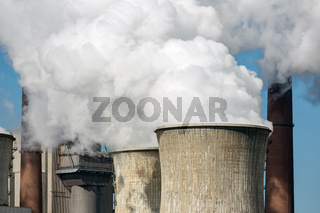 Cooling towers and smokestacks coal fired power plant in Germany