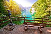 Konigssee Alpine lake idyllic sun haze view