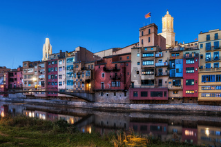 Girona City Riverside Houses At Dusk