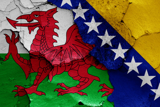 flags of Wales and Bosnia and Herzegovina painted on cracked wall