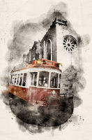 Watercolor red tram