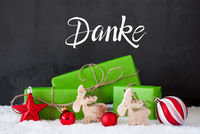 Danke Means Thank You, Green Present, Snow