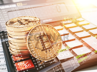 Bitcoin BTC coin on the calculator and graph. Crypto currency trading concept.