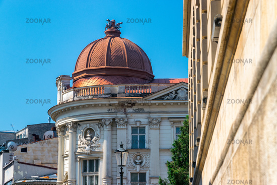 Pinacotecii palace building in Bucharest, Romania. Palatul Pinacotecii on a sunny summer day with a blue sky in Romania