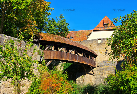 Rothenburg Holzbruecke an der Stadtmauer - Rothenburg in Germany, the old wooden bridge on city wall
