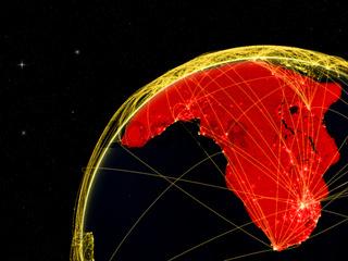 Africa on dark globe in space