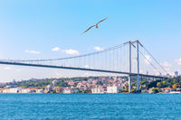 The Bosphorus bridge and the European shore of Istanbul with Ortakoy Mosque view
