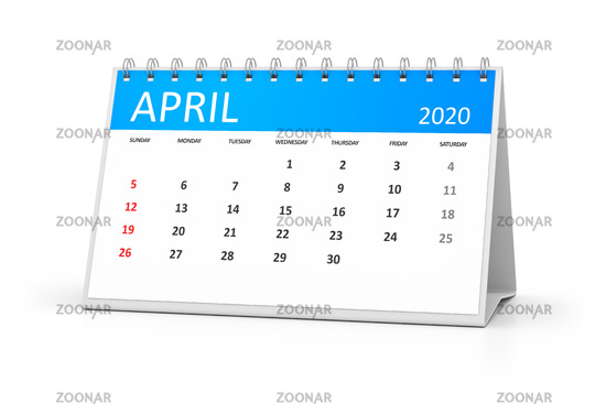 table calendar 2020 april
