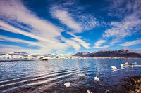 Cirrocumulus clouds of lagoon Jokulsarlon