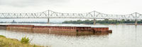 barges at cofluence of Ohio and Mississippi Rivers