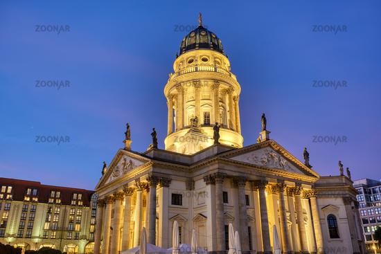 The German Church on Gendarmenmarkt in Berlin at dawn
